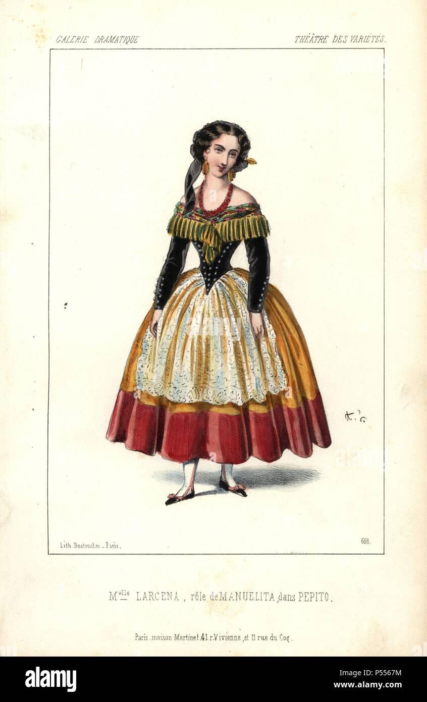 Mlle. Larcena as Manuelita in 'Pepito' at the Theatre des Varietes. Handcoloured lithograph by Alexandre Lacauchie from 'Galerie Dramatique: Costumes des Theatres de Paris' 1853. - Stock Image