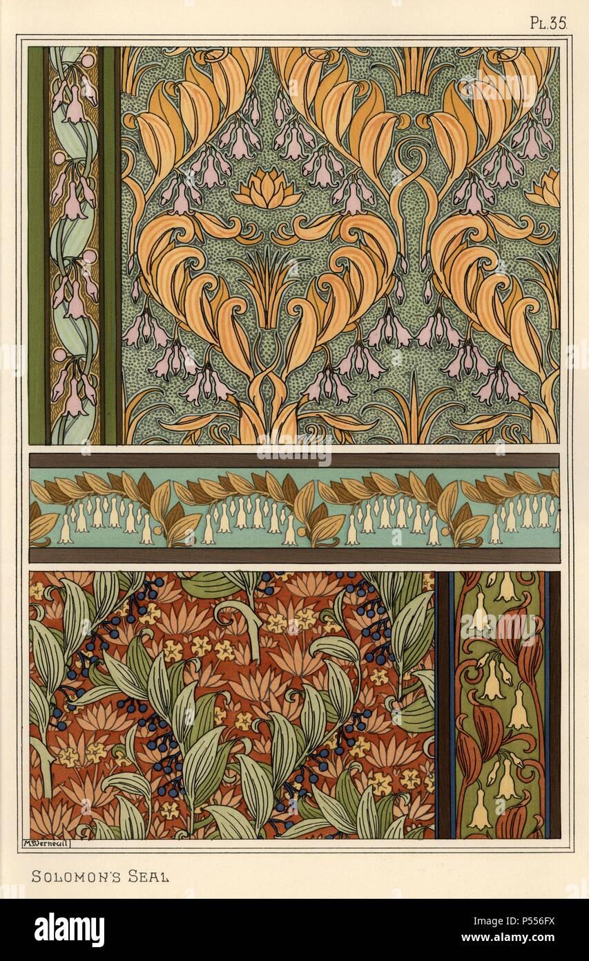 Solomons Seal Polygonatum Multiflorum As Design Motif In Wallpaper Borders And Fabric