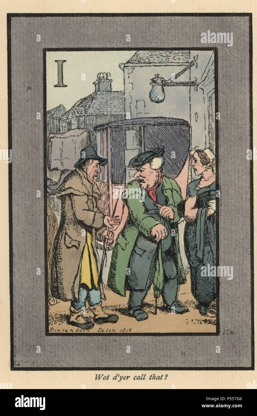 Hackney cab driver complaining to his passengers about the small tip (1819). Handcoloured woodblock engraving after an original painting by Thomas Rowlandson (1756-1827) from Andrew Tuer's 'London Cries: with Six Charming Children and about forty other illustrations,' published by Field & Tuer, London, 1883. - Stock Image