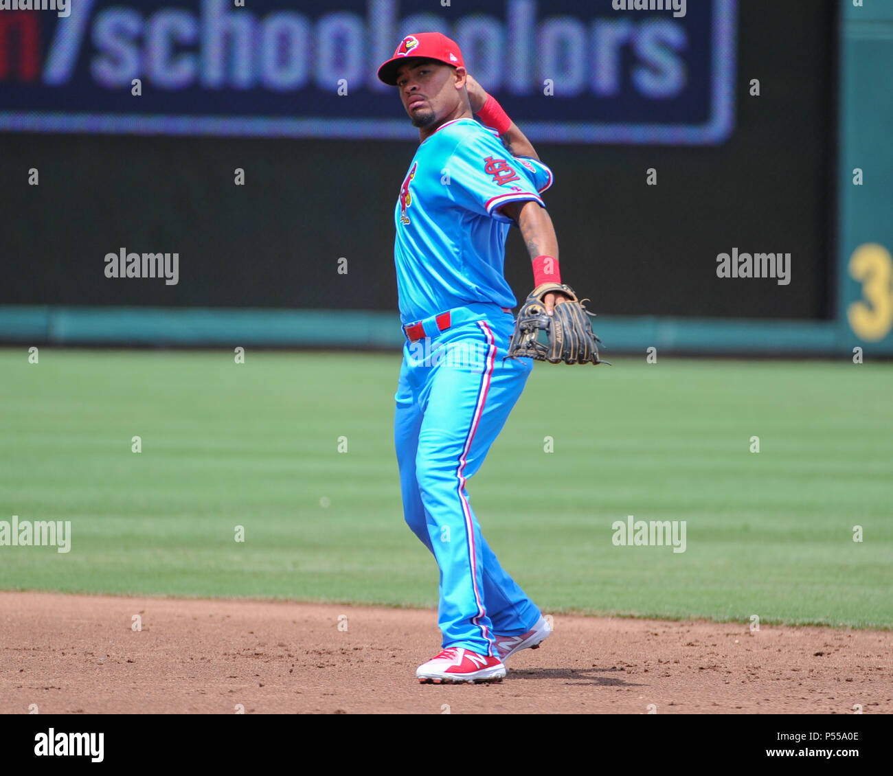 Auto Zone Park. 24th June, 2018. TN, United States; Memphis infielder, Edmundo Sosa (73), prepares to throw to 1st base during the Pacific Coast League Triple-A baseball game at Auto Zone Park. Memphis defeated New Orleans, 11-5. Kevin Langley/CSM/Alamy Live News - Stock Image