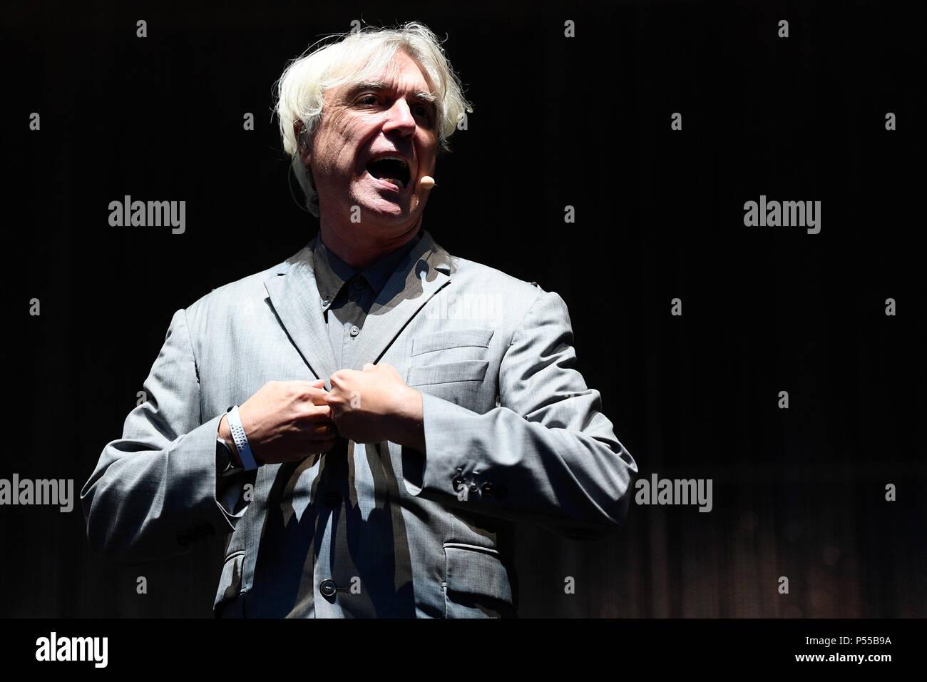 Prague, Czech Republic. 23rd June, 2018. British (Scottish) musician David Byrne performs during the Metronome music festival in Prague, Czech Republic, on June 23, 2018. Credit: Ondrej Deml/CTK Photo/Alamy Live News - Stock Image