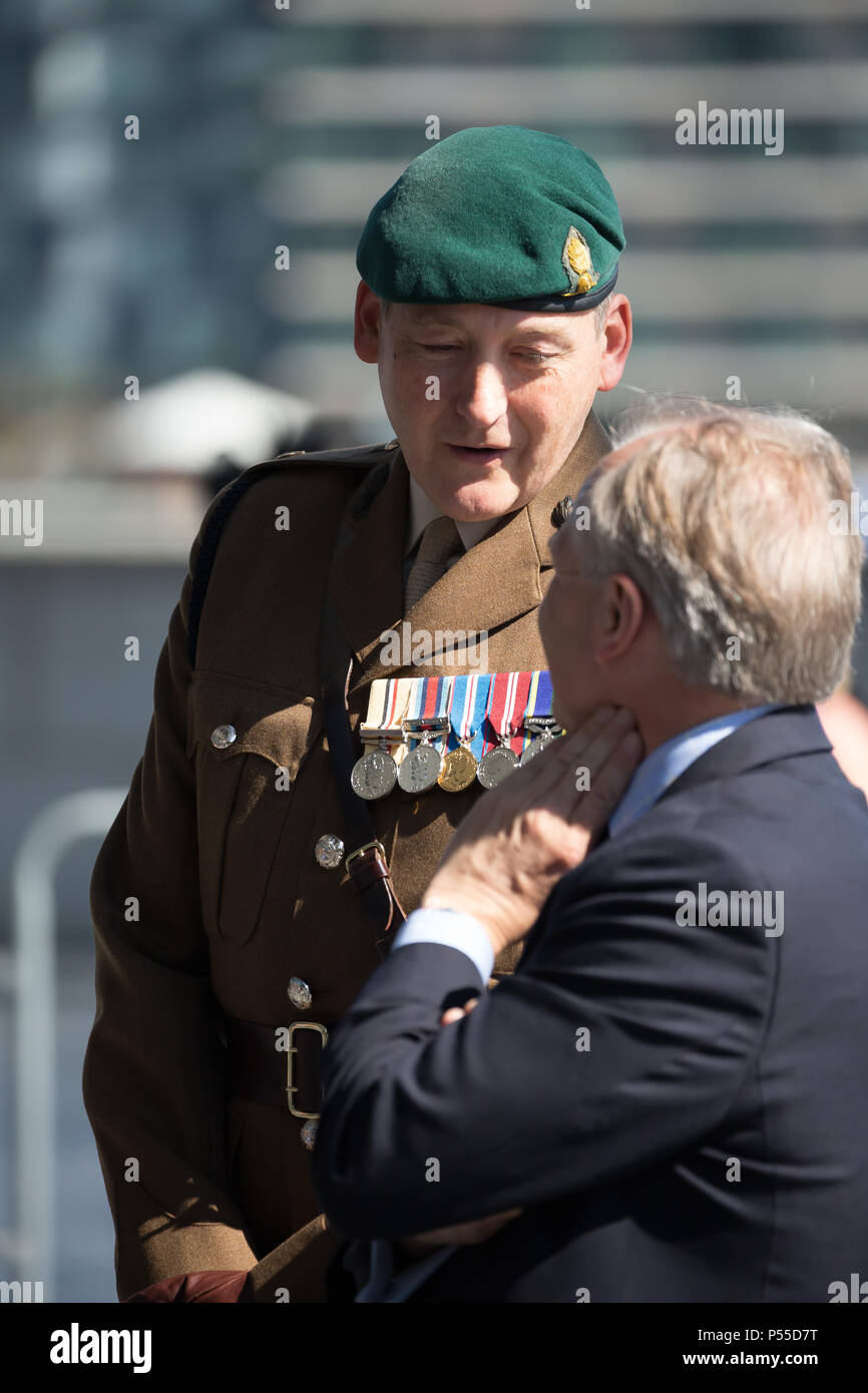 London,UK,25th June 2018,The Mayor of London, Sadiq Khan and Chairman of the London Assembly, Tony Arbour welcomed members of the British Armed Forces, cadets, veterans and representatives from various military charities and welfare organisations today for a Armed Forces Day flag raising ceremony at City Hall. Credit: Keith Larby/Alamy Live News - Stock Image