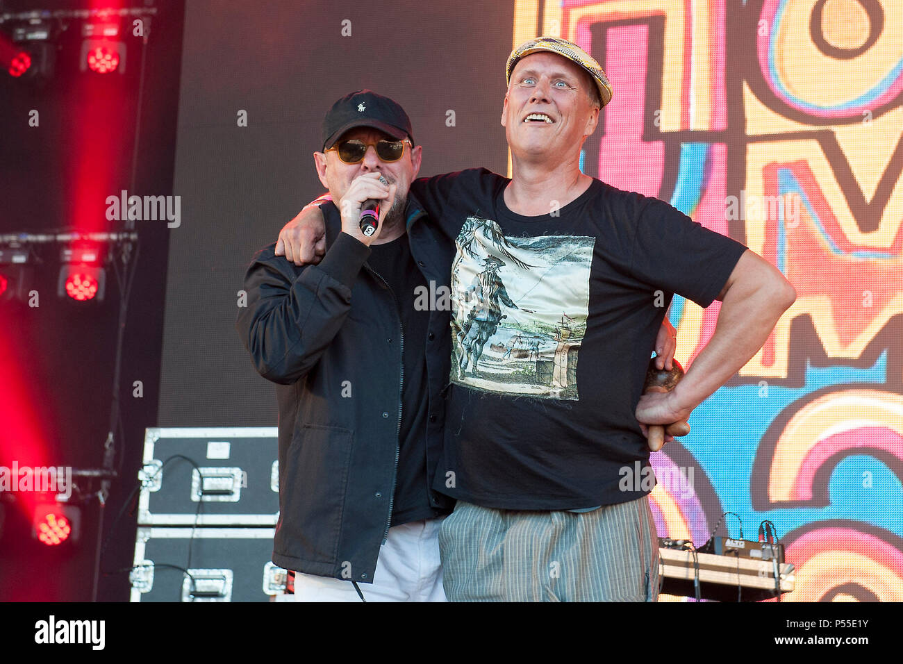 Edinburgh, UK. 24th June, 2018. The Happy Mondays in concert at The Sunday Sessions Scotland, Dalkeith Country Park, Edinburgh, Great Britain 24th June 2018 Credit: Stuart Westwood/Alamy Live News - Stock Image