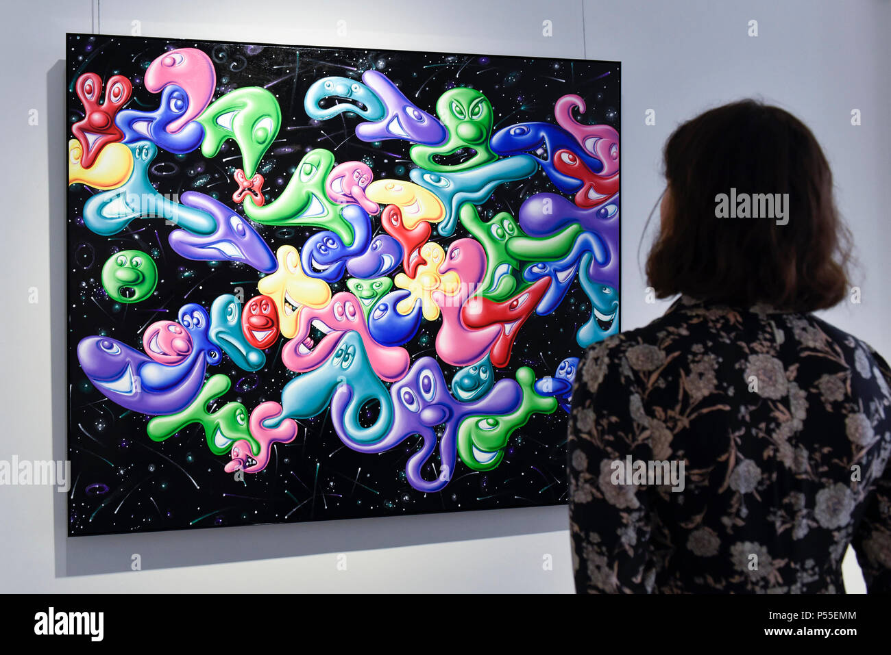 London Uk 25 June 2018 A Staff Member Views A Painting At The