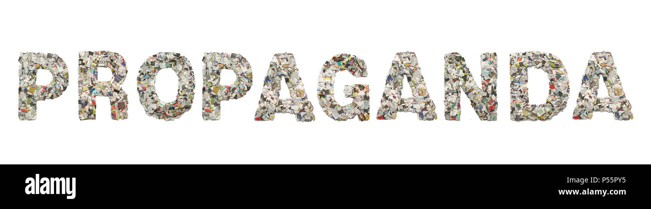 the word     PROPAGANDA made from newspaper confetti isolated on old paper - Stock Image