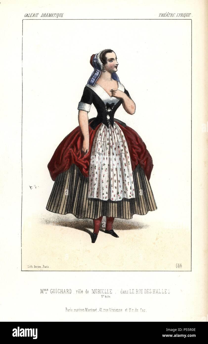Mme. Guichard as Morielle in 'Le Roi des Halles' at the Theatre Lyrique. Handcoloured lithograph by Alexandre Lacauchie from 'Galerie Dramatique: Costumes des Theatres de Paris' 1853. - Stock Image