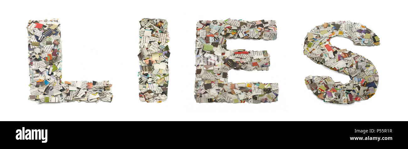 the word   LIES  made from newspaper confetti  isolated - Stock Image
