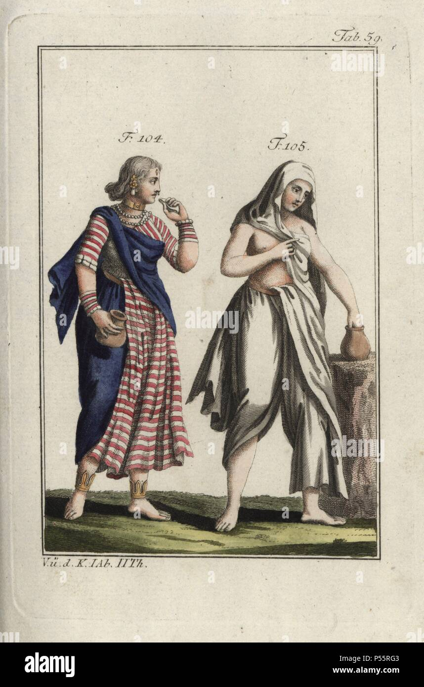 Two Indian women, one with bangles and necklaces, with waterjugs. Handcolored copperplate engraving from Robert von Spalart's 'Historical Picture of the Costumes of the Principal People of Antiquity and of the Middle Ages' (1797). - Stock Image