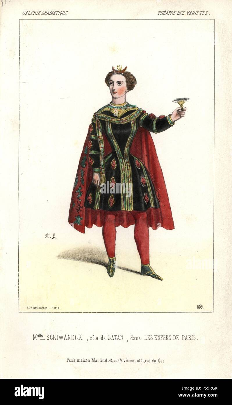 Mlle. Scriwaneck in costume as Satan in 'Les Enfers de Paris' at Theatre des Varietes. Augustine-Celestine Scriwaneck (1825-1910) had a 'sharp and wiry voice,' but played comedies in a very charming and graceful manner.. Handcoloured lithograph by Alexandre Lacauchie from 'Galerie Dramatique: Costumes des Theatres de Paris' 1853. - Stock Image