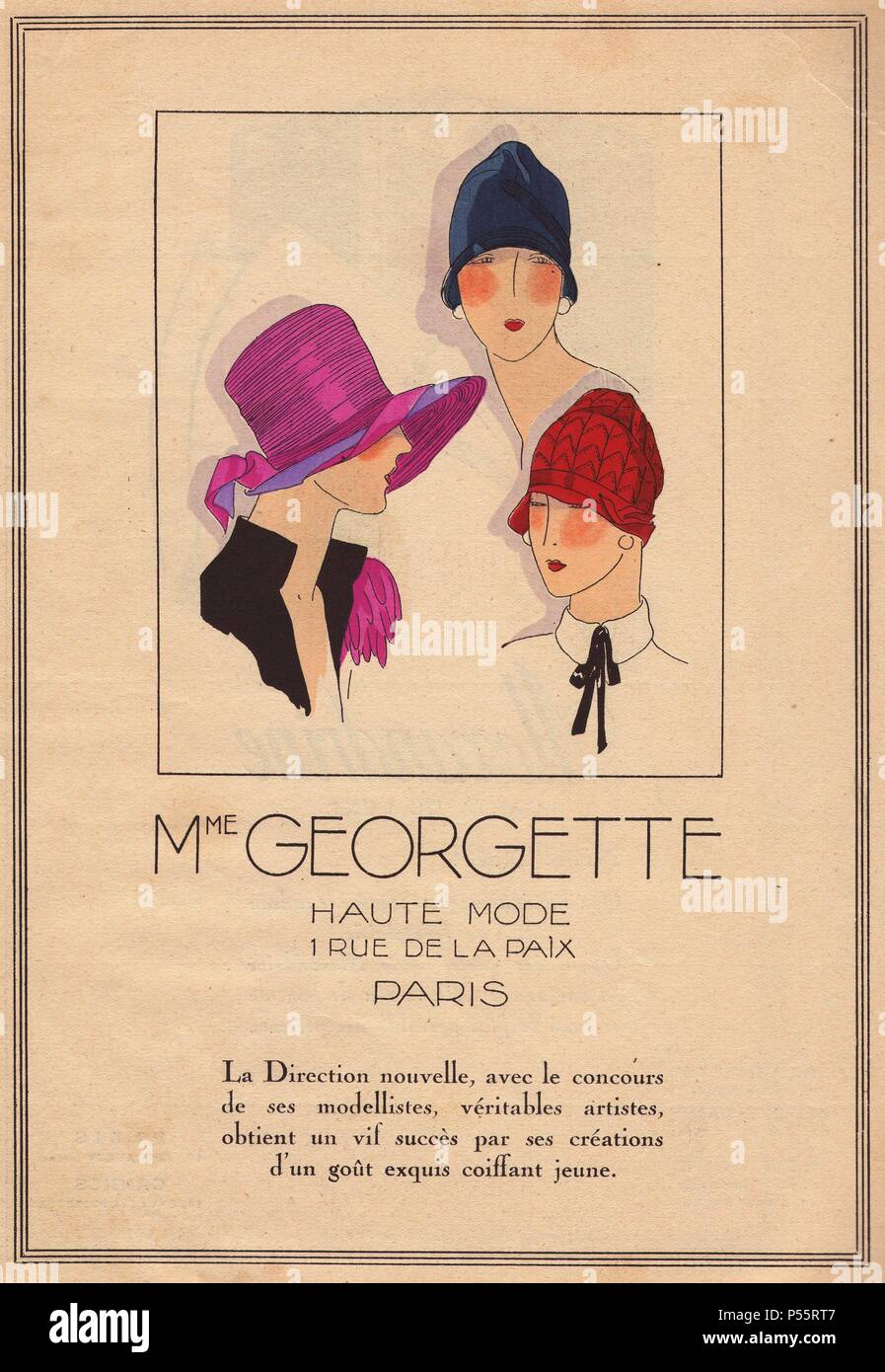 1920s women s hat advertisement from Madame Georgette 8c8629cf9305
