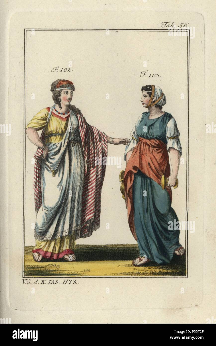 Jewish noblewoman and young Jewish girl with waterjug. Handcolored copperplate engraving from Robert von Spalart's 'Historical Picture of the Costumes of the Principal People of Antiquity and of the Middle Ages' (1797). - Stock Image