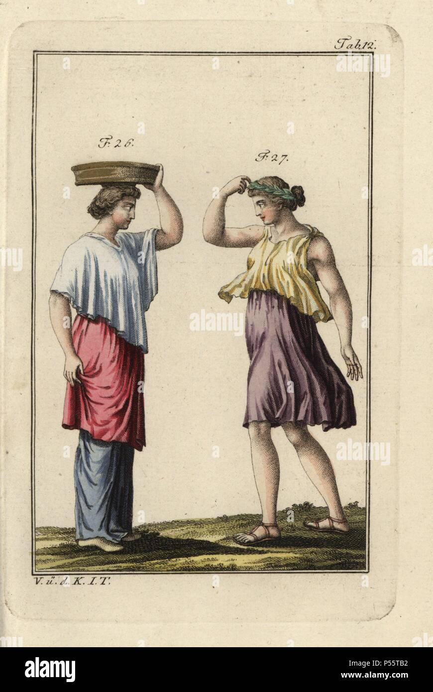 Basketweaver wearing a ricinium (short pallium) and a Greek dancer. Handcolored copperplate engraving from Robert von Spalart's 'Historical Picture of the Costumes of the Principal People of Antiquity and of the Middle Ages' (1796). - Stock Image