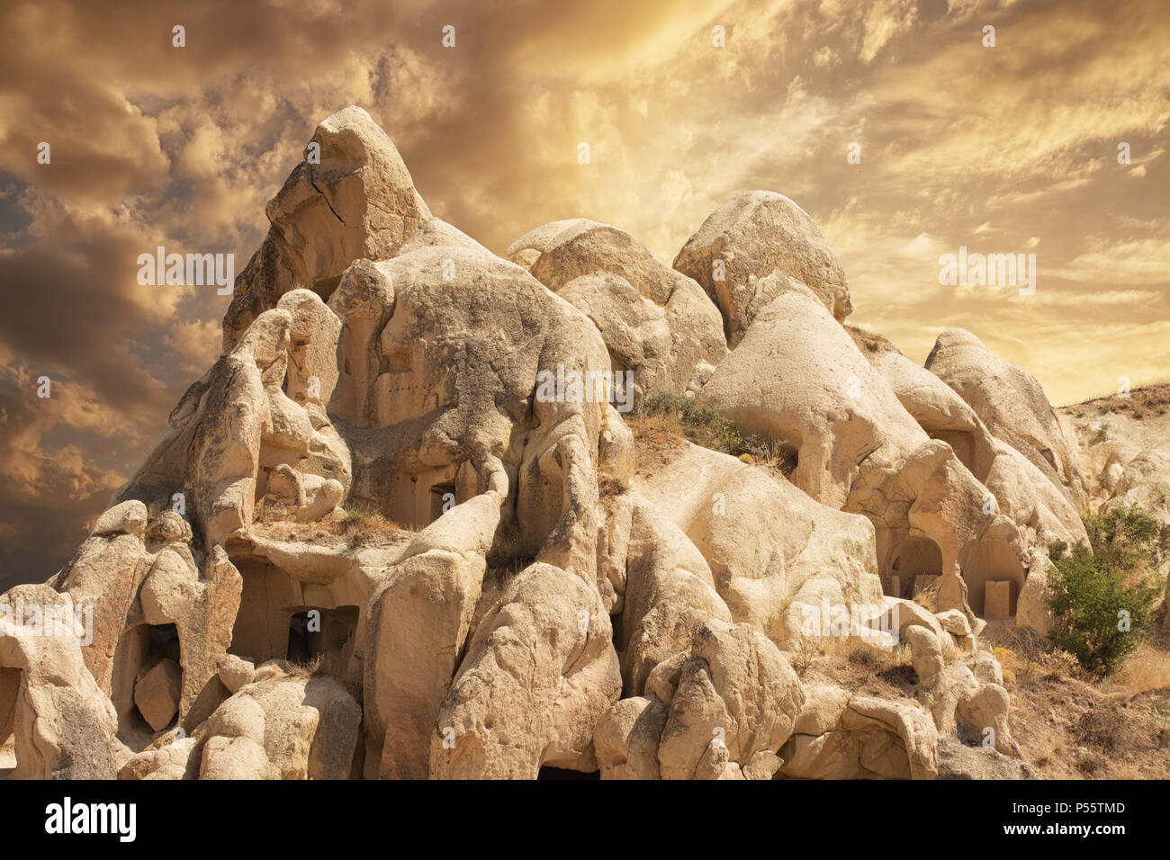 Impressive fungous forms of sandstone in the canyon near Cavusin village, Cappadocia, Nevsehir Province, Anatolia Region of Turkey - Stock Image