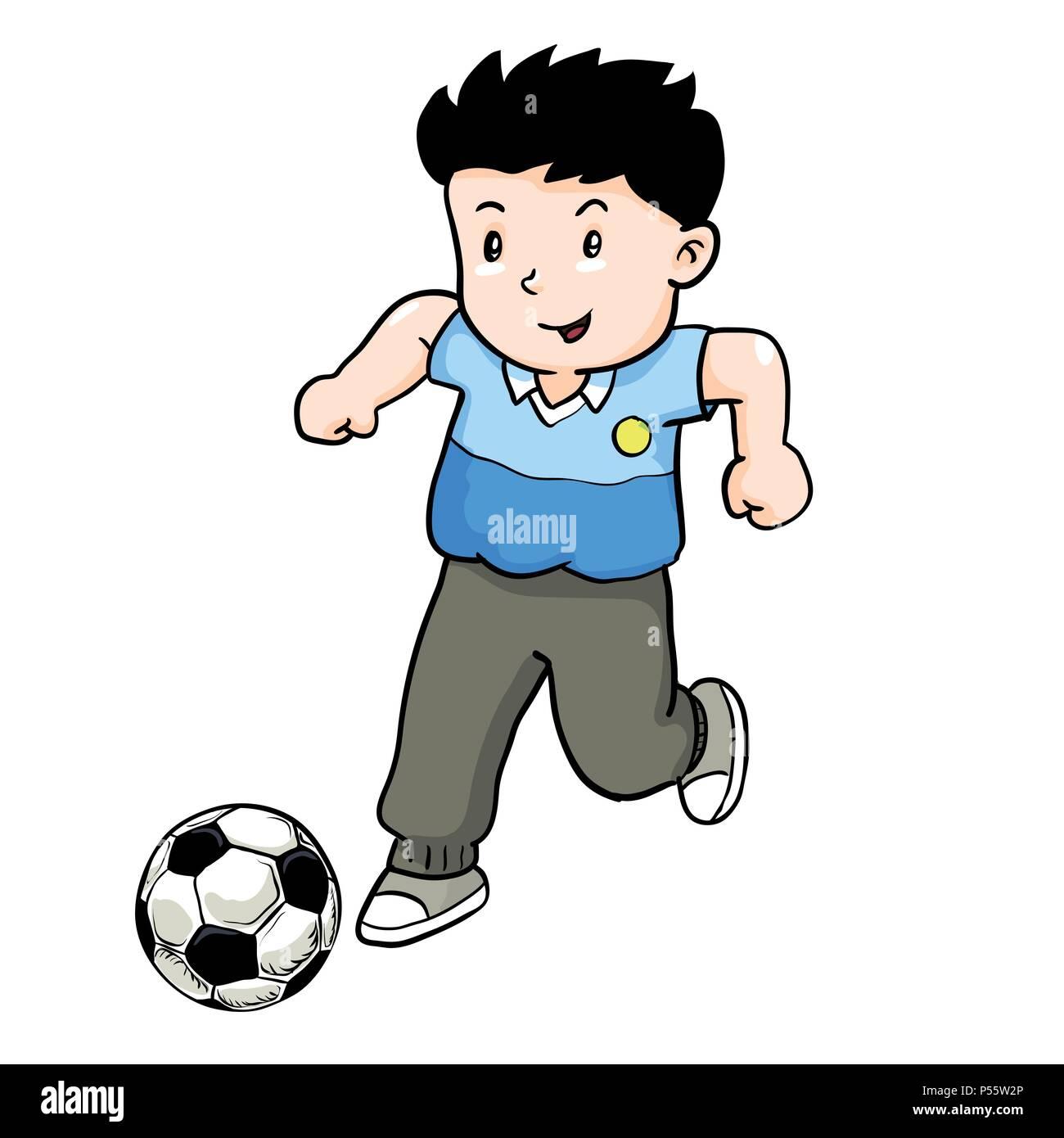 Boy playing Football, Cartoon kid play soccer -Vector Illustration. - Stock Vector