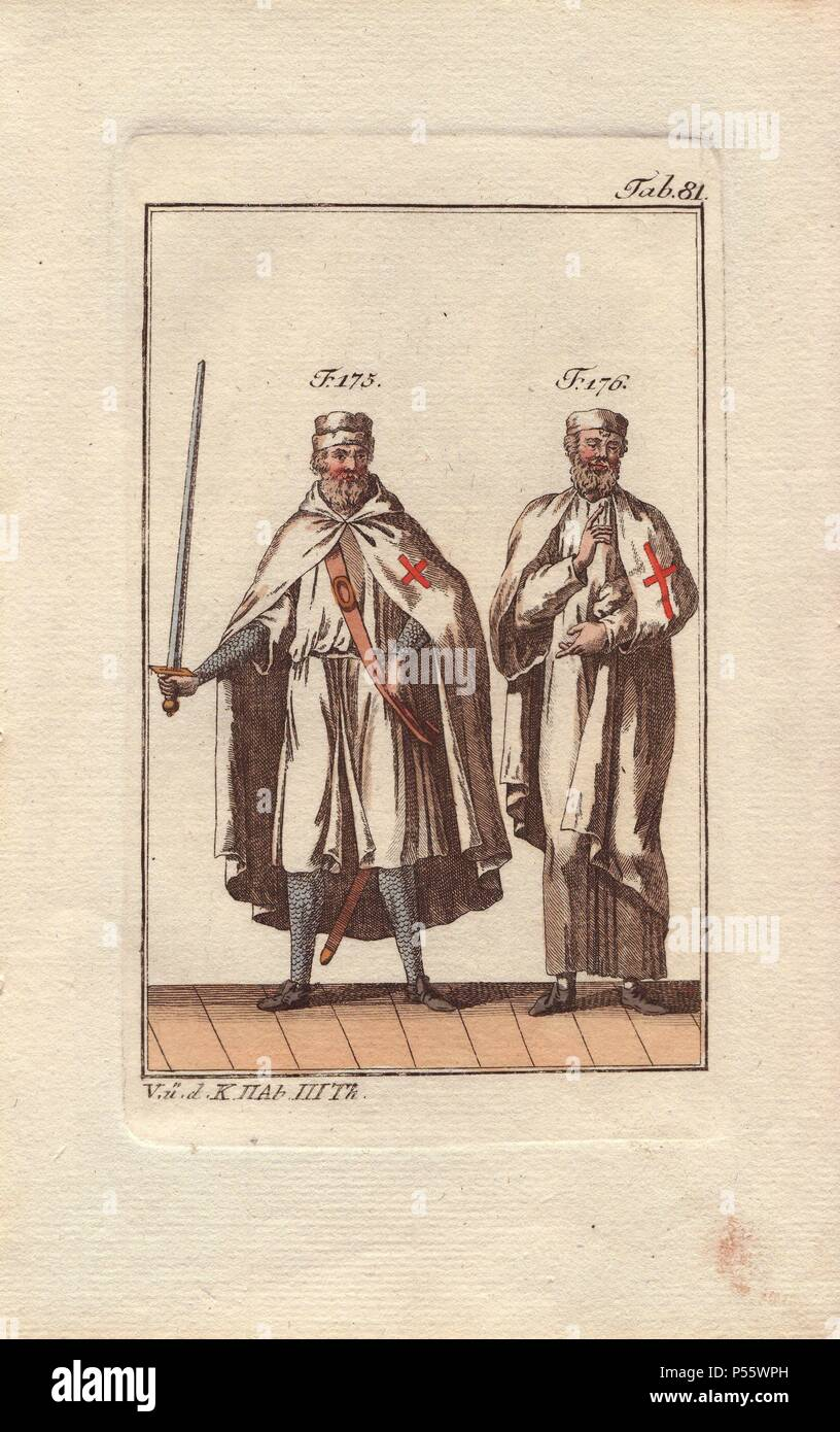 Two Knights Templar Are Shown In Battle Garb (175), Armed
