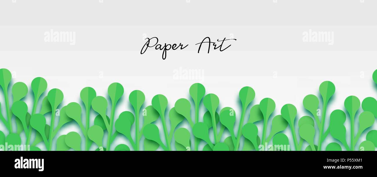 Fresh spring green grass leaves frame template with curling blank.