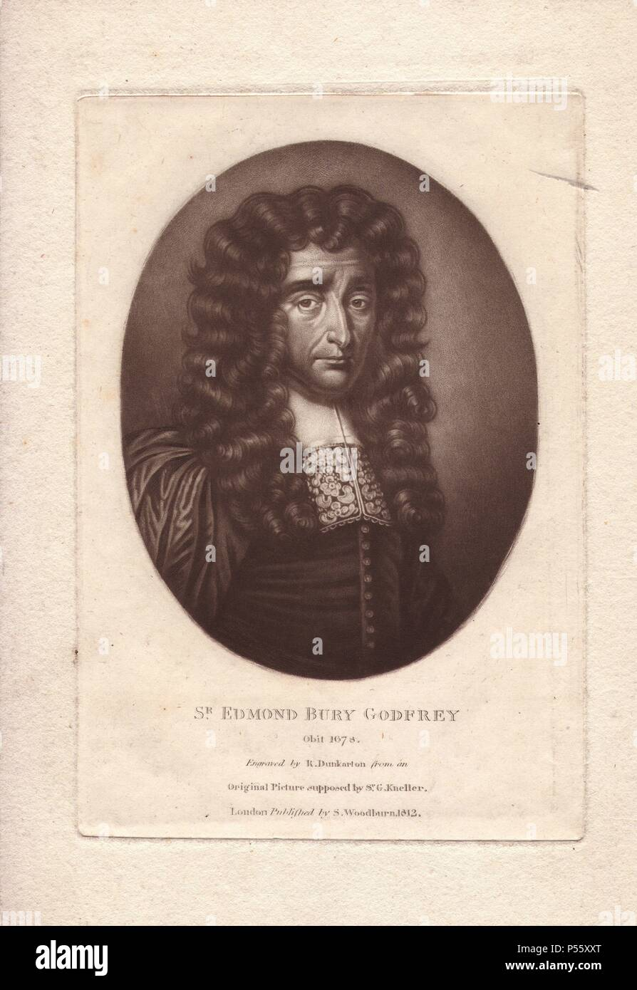 "Sir Edmond Bury Godfrey (1621-1678), English magistrate whose mysterious murder was used by Titus Oates to foment anti-Catholic furore in England.. ""Engraved by R. Dunkarton from an original picture supposed by Sir G. Kneller."" Published in 1812. Stock Photo"