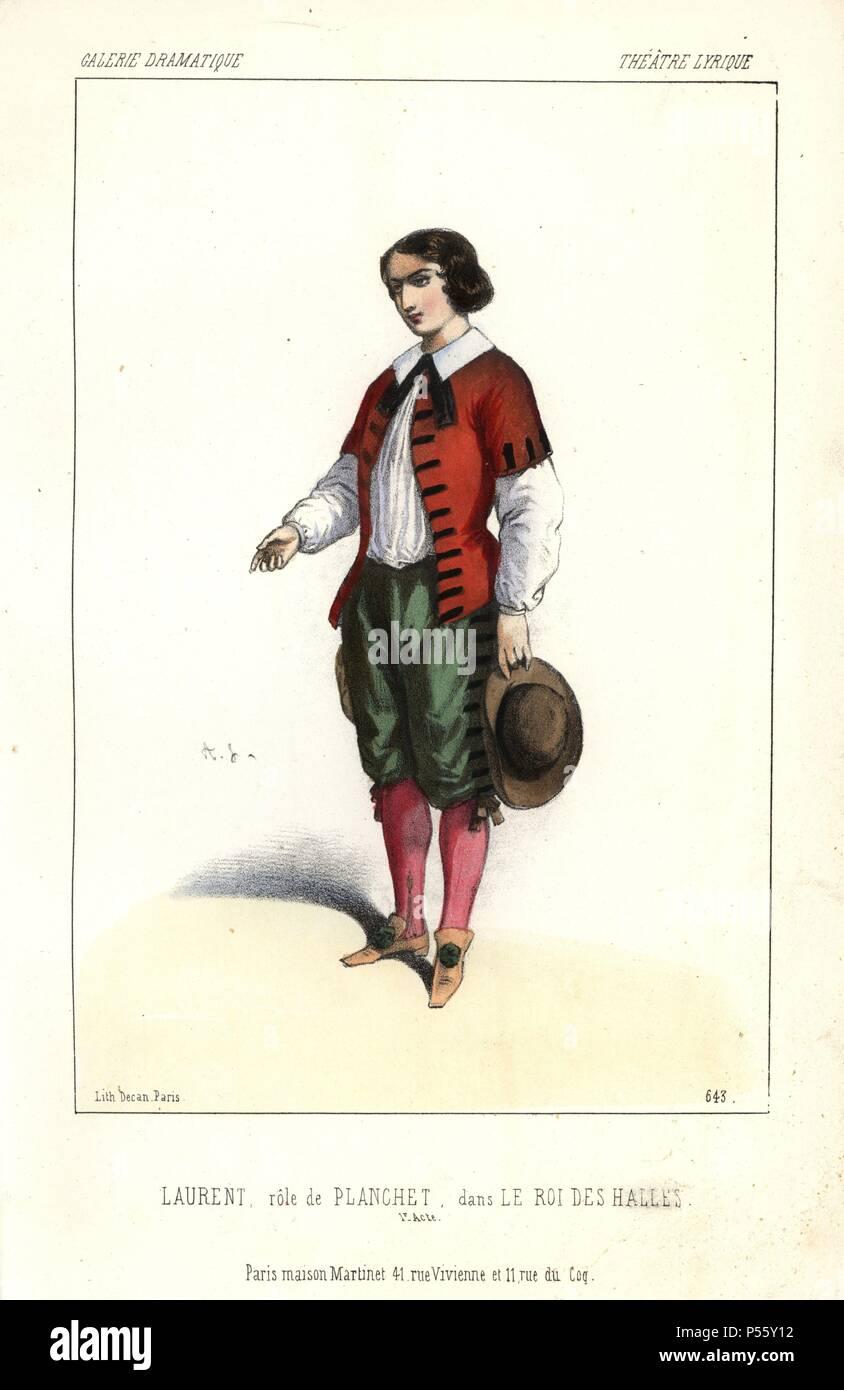 Laurent as Planchet in 'Le Roi des Halles' at the Theatre Lyrique. Handcoloured lithograph by Alexandre Lacauchie from 'Galerie Dramatique: Costumes des Theatres de Paris' 1853. - Stock Image