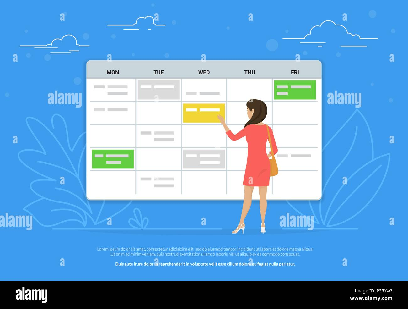 Schedule Planning Concept Illustration Of Young Woman Standing Near