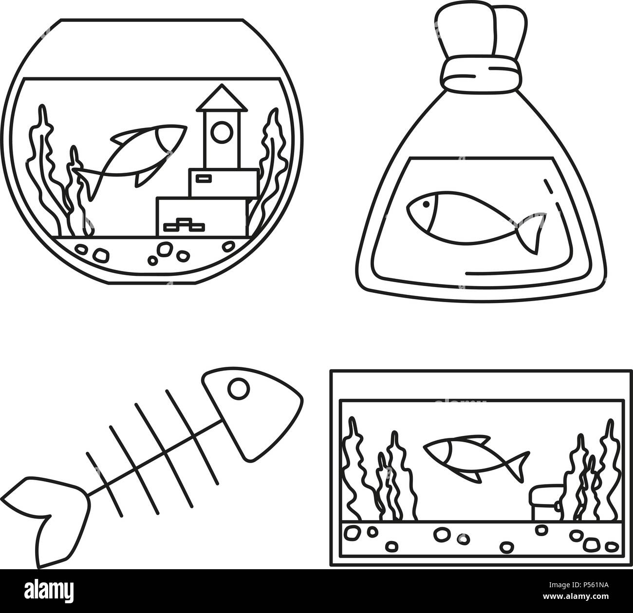 Line art black and white fish elements - Stock Image