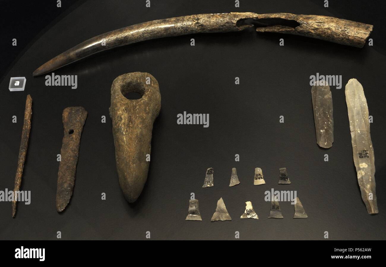 Funerary trappings of a man's grave. From left to right: Deer antler point, bone pin, wristguard of bone, battle axe of stone, arrowheads of flint and flint blades. Early Neolithic Period. 3800 BC. From Dragsholm, western Zealand. National Museum of Denmark. Copenhagen. Denmark. - Stock Image