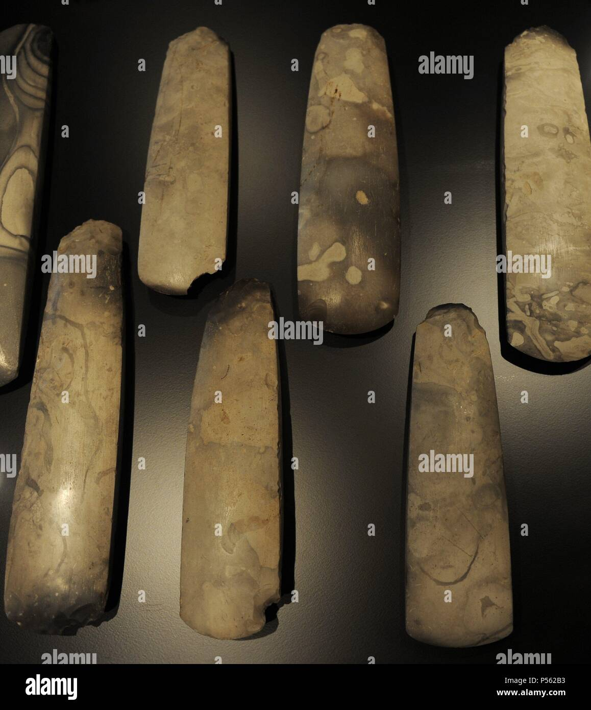 Polished flint axes. 3700-3500 BC. From Hagelbjerggard, central Zealand. National Museum of Denmark. Copenhagen. Denmark. - Stock Image