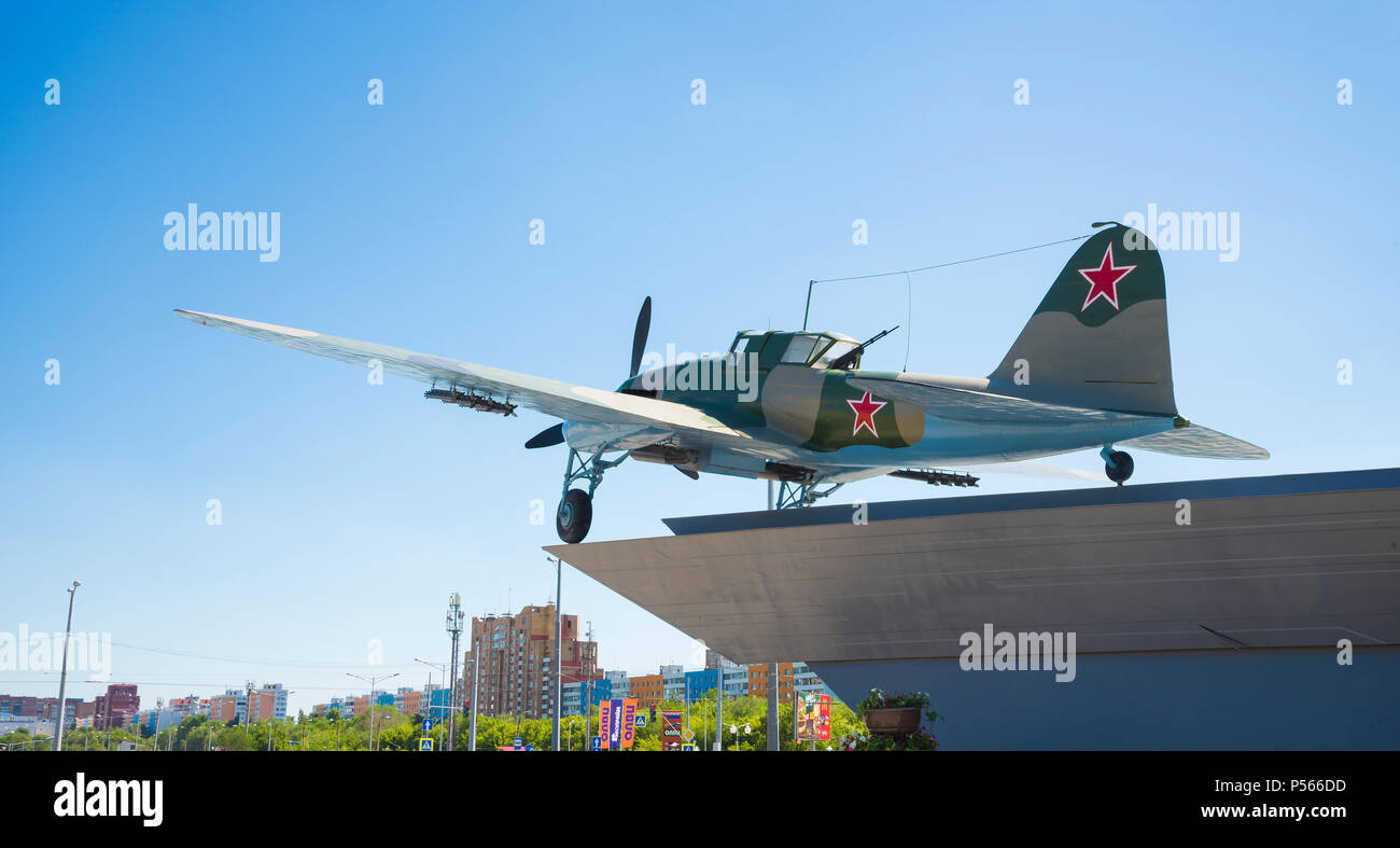 Monument to the Il-2, who fought in world war II and installed in Samara Russia. On a Sunny summer day. Stock Photo