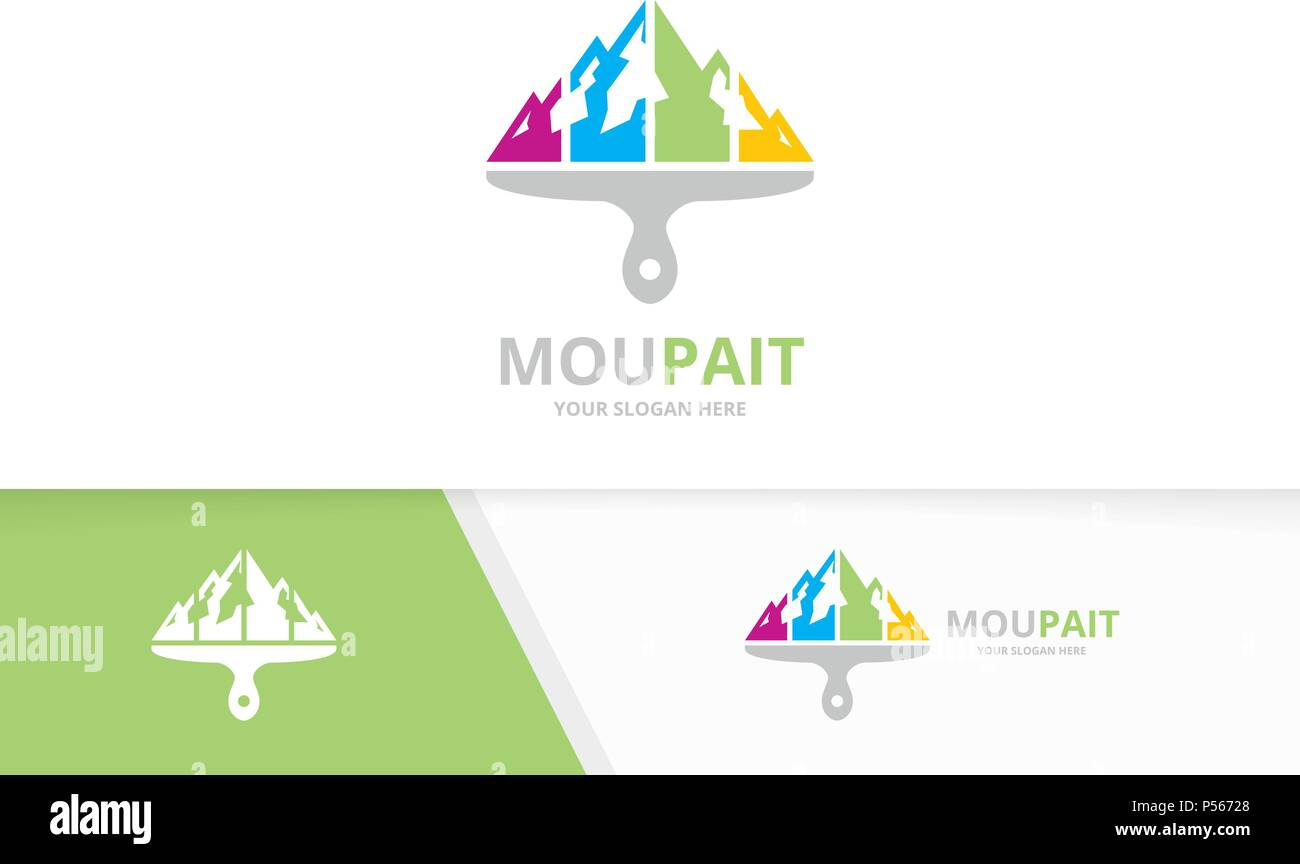 vector mountain and brush logo combination nature and paintbrush