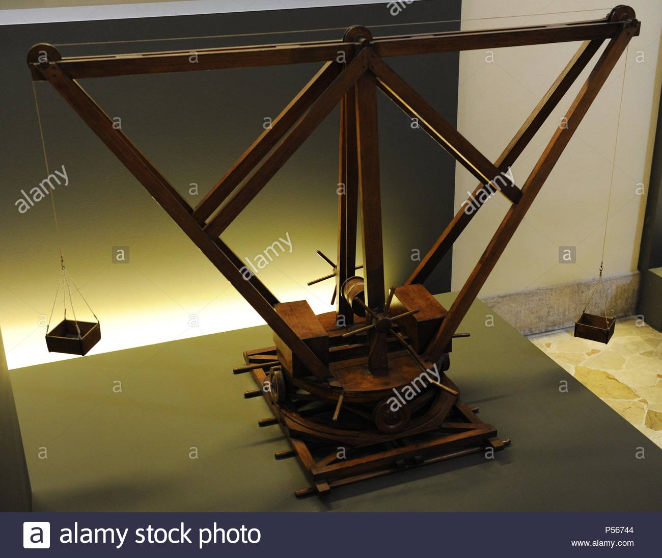 Machine. Crane with central winch. Codex Atlanticus f. 105 bv. This machine is one of the many cranes Da Vinci studied while he was living in Florence. The Science and Technology Museum Leonardo da Vinci. Milan. Italy. - Stock Image