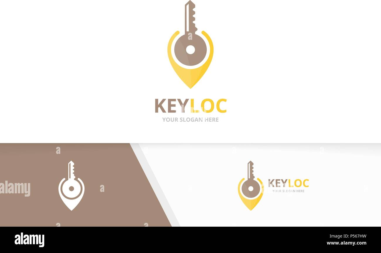 Vector Key And Map Pointer Logo Combination Lock And Gps Locator