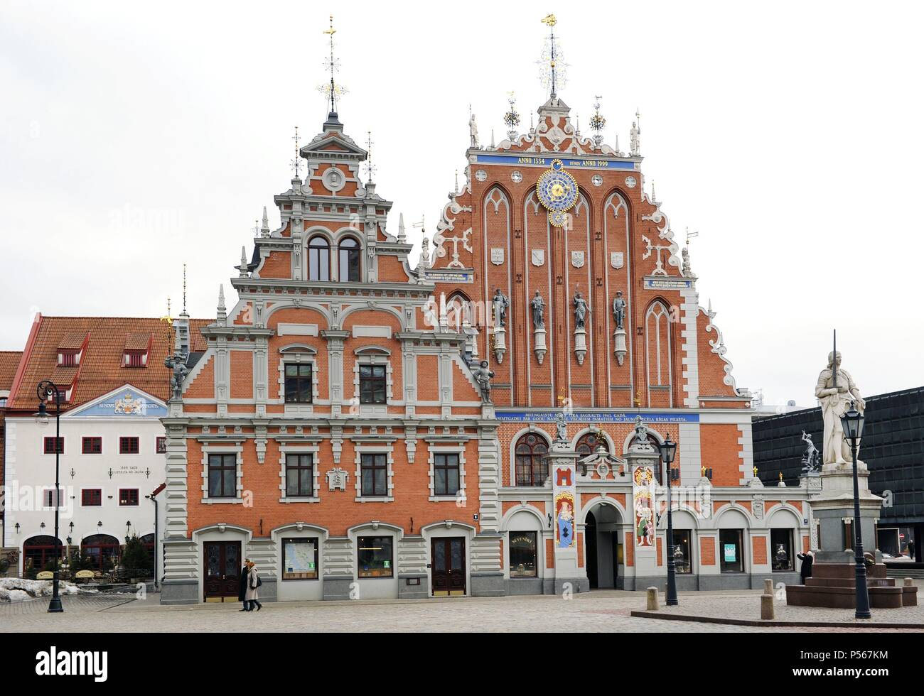 Latvia. Riga. House of the Blackheads (Melngalvju nams). Erected in 14th century for the Brotherhood of Blackheads, a guild for unmarried German merchants in Riga. Major works were done in the years 1580 and 1886. The structure was bombed to a ruin by the Germans and the remains demolished by the Soviets. The reconstruction was from 1995 to 1999. - Stock Image