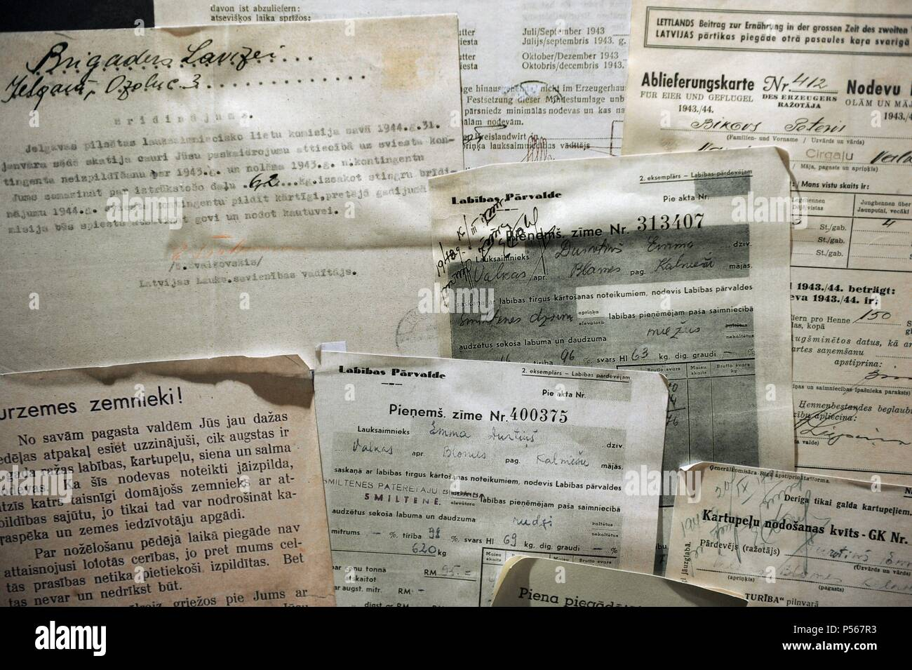 Latvia. Nazi occupation (1941-1944). Accounting documents for delivery of agricultural taxes and warning for non-delivery of taxes. Occupation Museum. Riga. Latvia. - Stock Image