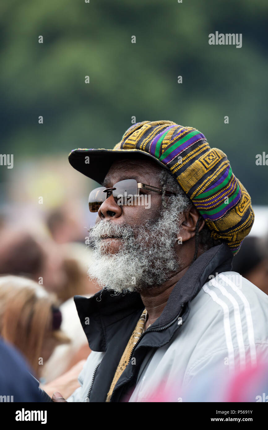Middle aged black man with a grey beard and Afro hat at the 2018 Africa Oye  music festival in Sefton Park b483b5ff6bc
