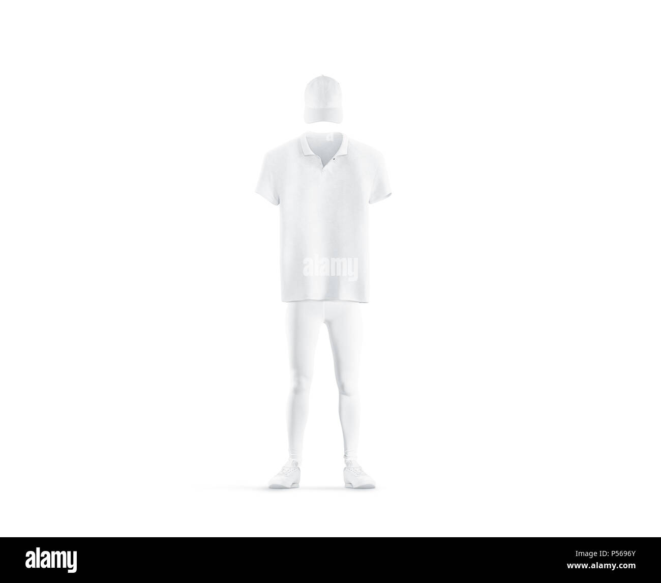 6e39002e8f54 Blank white classic uniform design mock up isolated. Empty cap, polo, pants  and shoes mockup. Clear delivery boy or baseball player outfit dress  template.