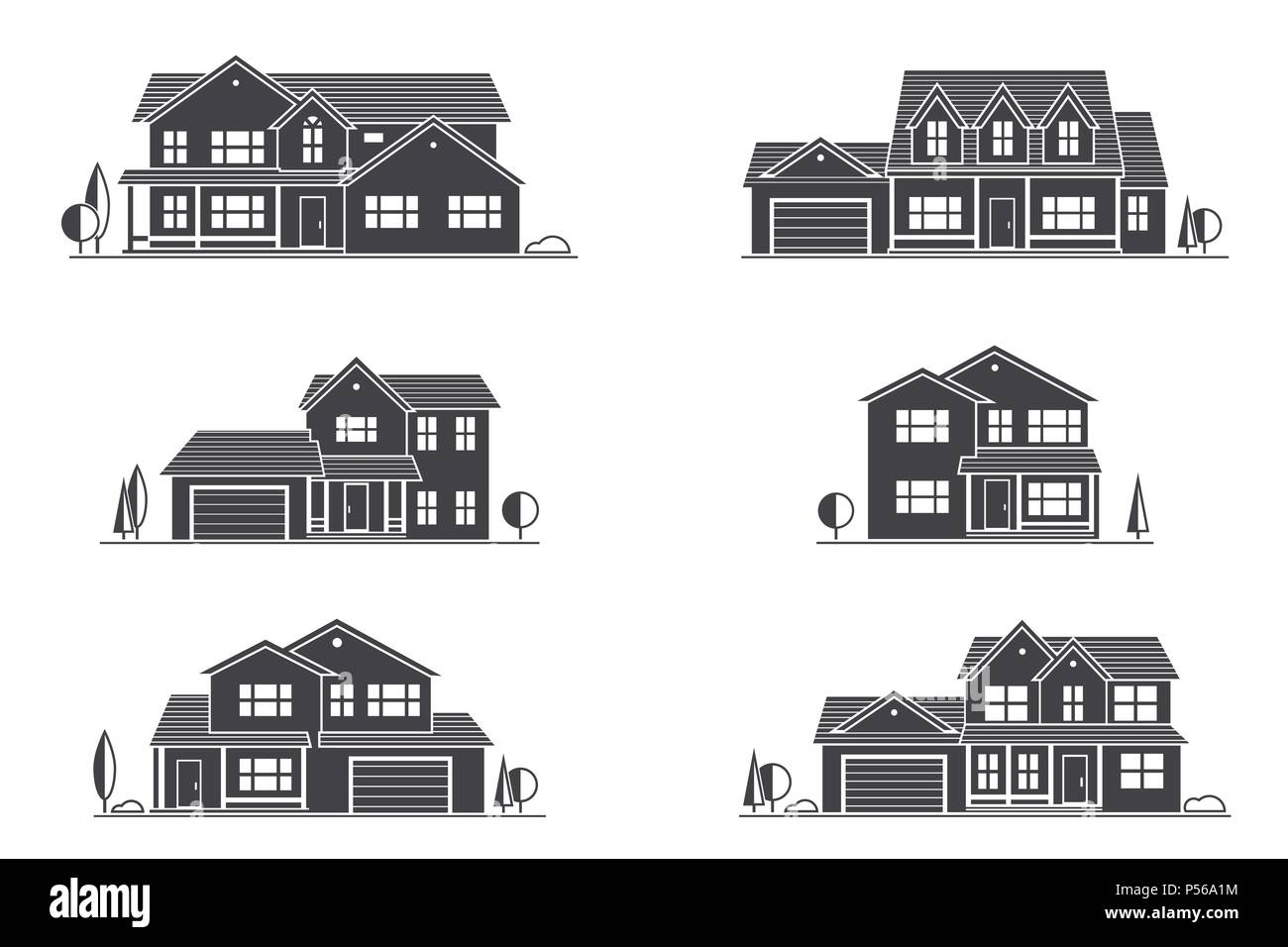 vector silhouette suburban american house for web design and
