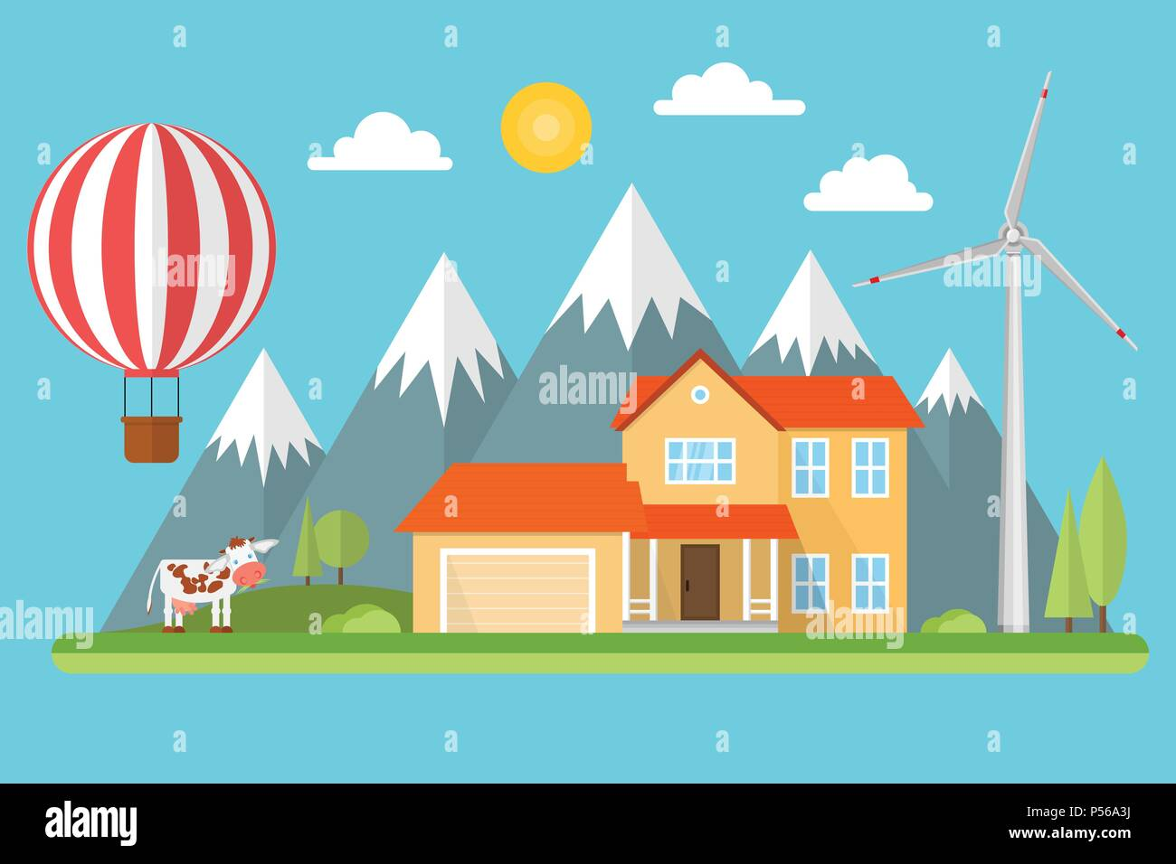 Suburban american house in the mountains among the trees with wind turbine, air balloon and cow. Green energy concept. Vector illustration. - Stock Vector