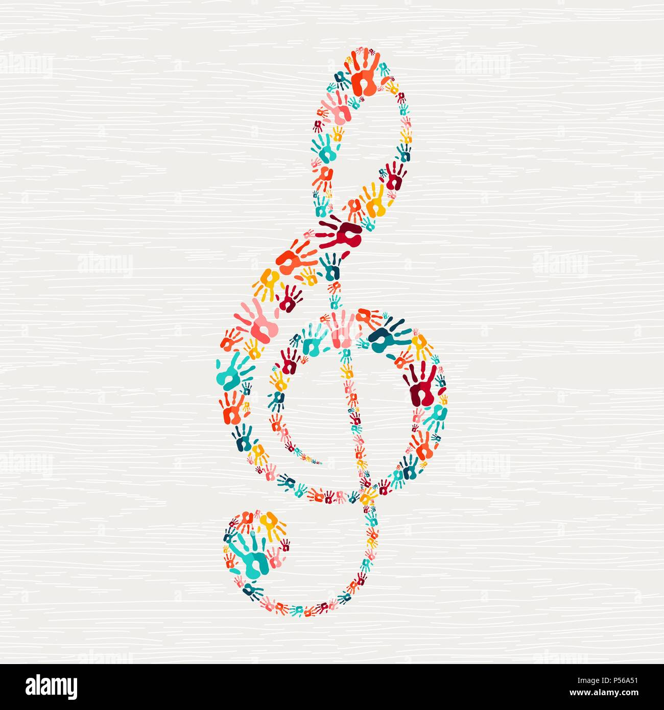 Human Hand Print Musical Note Shape Concept Colorful Paint
