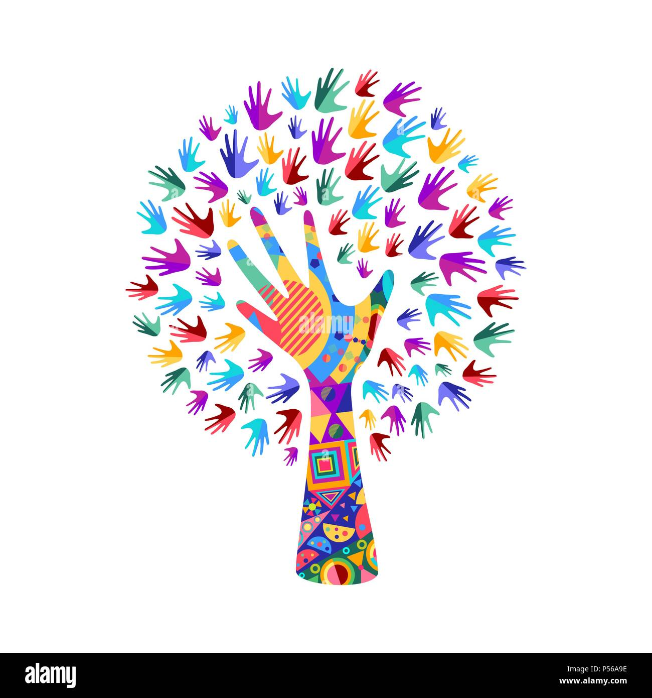 Tree Symbol With Colorful Human Hands Concept Illustration For