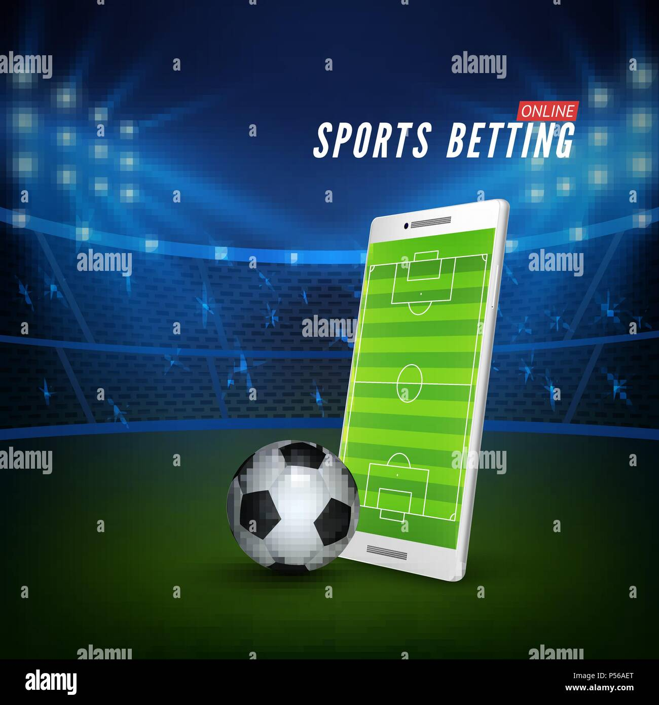sports betting online web banner template smartphone with football