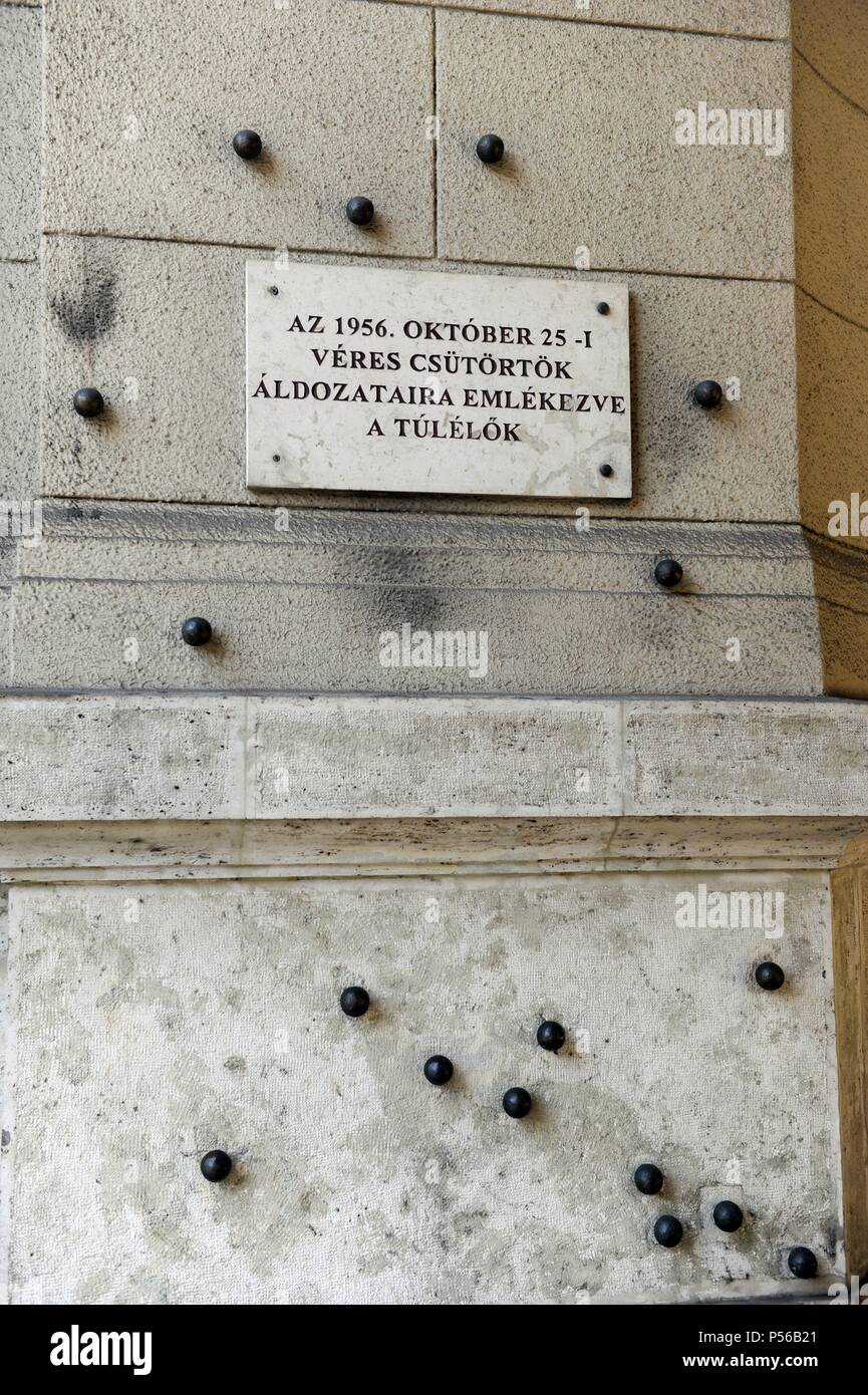 Budapest. Steel balls on the facade of the Ethnographic Museum in memory of people killed by the Hungarian communist regime. Stock Photo