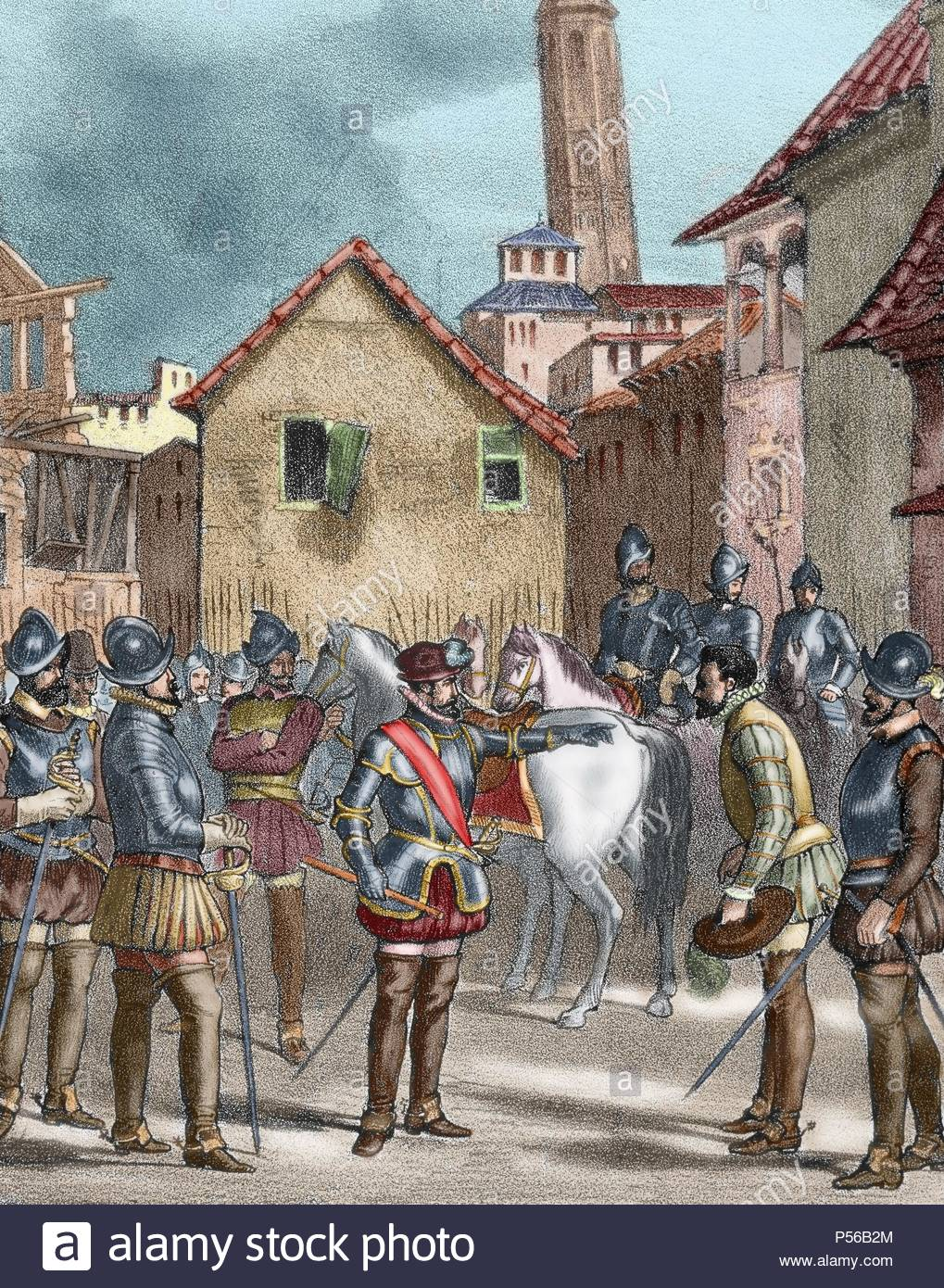 Spain. Aragon. Reign of Philip II. Alterations of Aragon. Entry of Castilian royal troops in Zaragoza (October 1591) that ended the Aragonese uprising. Colored Engraving. 19th century. - Stock Image