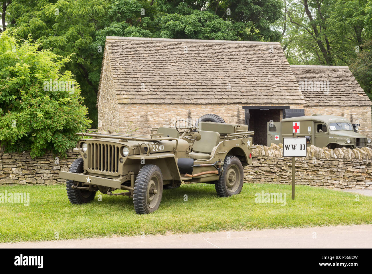 DEARBORN, MI/USA - JUNE 16, 2018: A 1942 Willys MB Jeep at the The Henry Ford (THF) Motor Muster show, at Greenfield Village, near Detroit, Michigan. - Stock Image