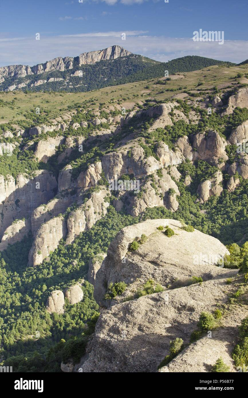 Turp Mountain Range, Area of Natural Interest. Pyrenees mountain. Province of Lleida. Spain. - Stock Image