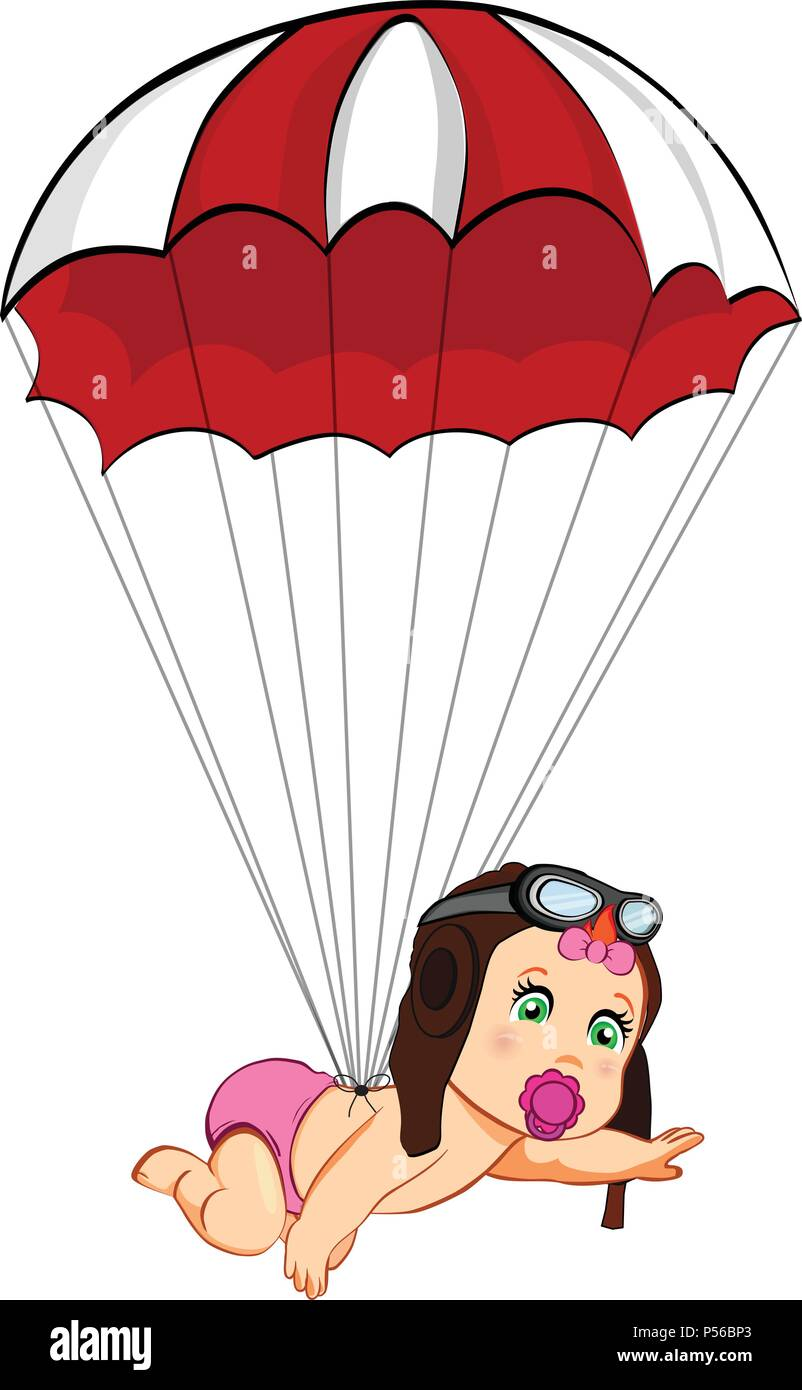 Its a girl cartoon vector clip art with cute baby in pilot hat falling down  with red parachute on white background. Baby shower greeting card design e e929bcdef61