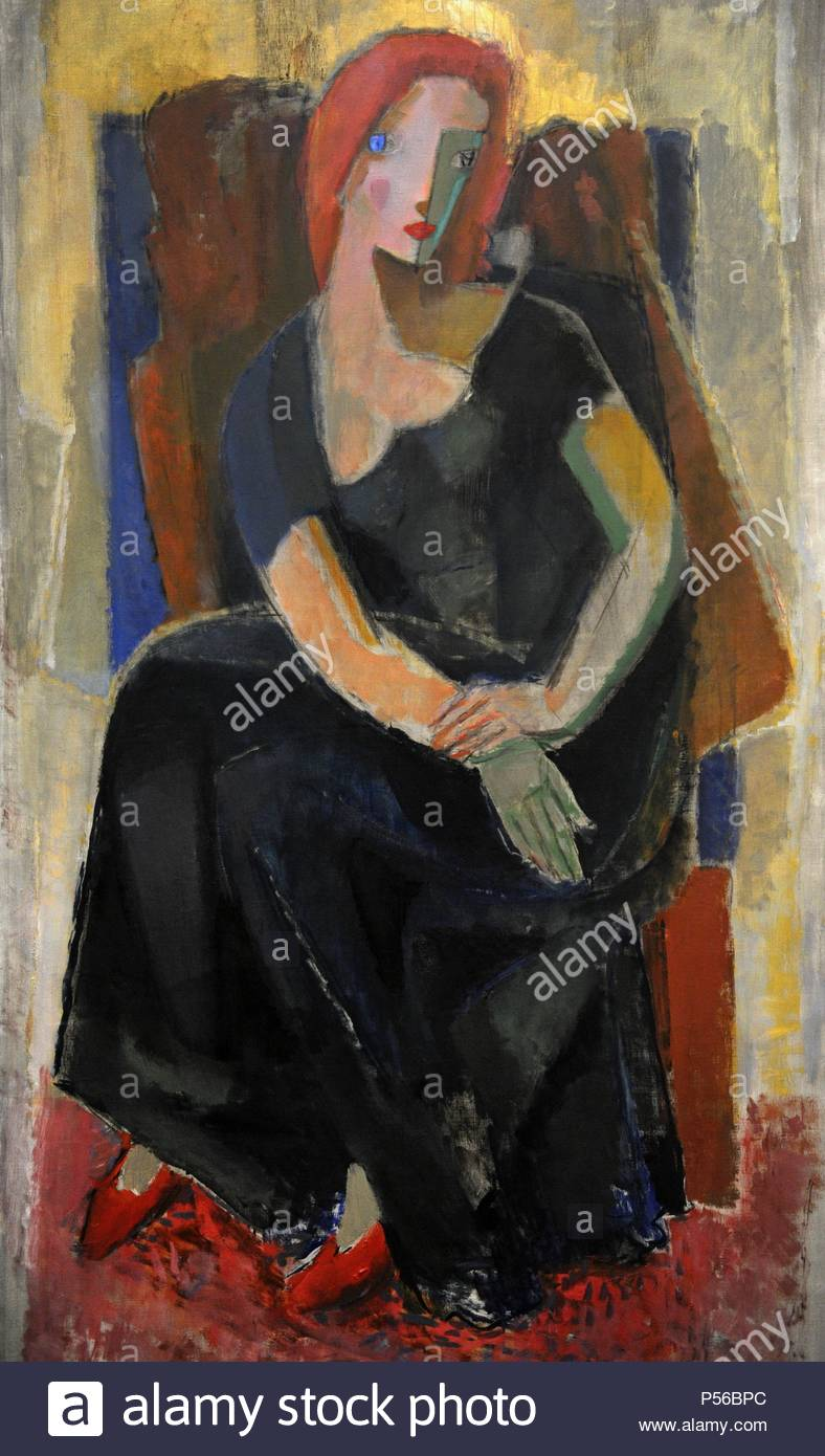 Waino Aaltonen (1894 - 1966). 'Redhaired woman in an evening dress'. Oil on canvas. Turku City Art Collection. - Stock Image