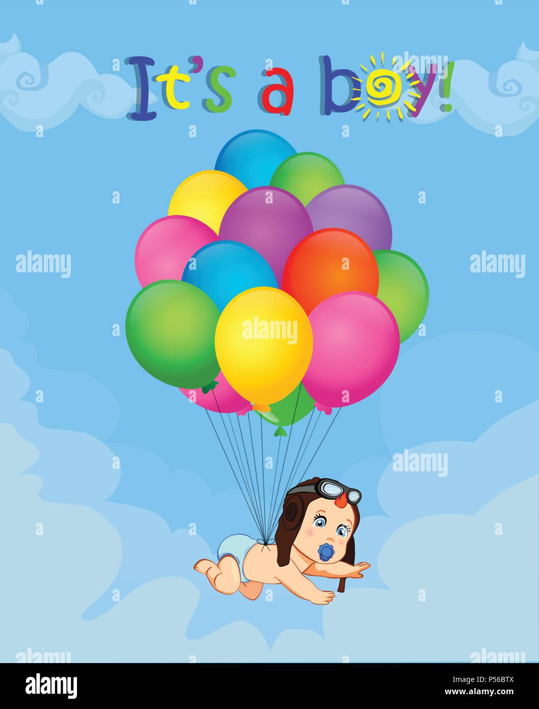 641cd65a415 Its a boy cartoon vector illustration with cute baby in pilot hat falling  down on bunch