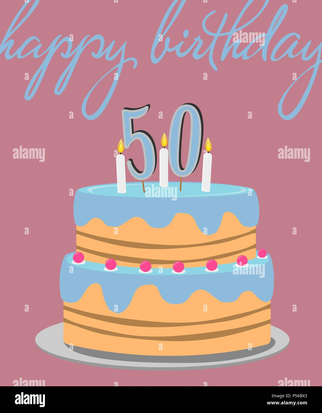 Happy 50th birthday greeting card with birthday cake illustration happy 50th birthday greeting card with birthday cake illustration m4hsunfo