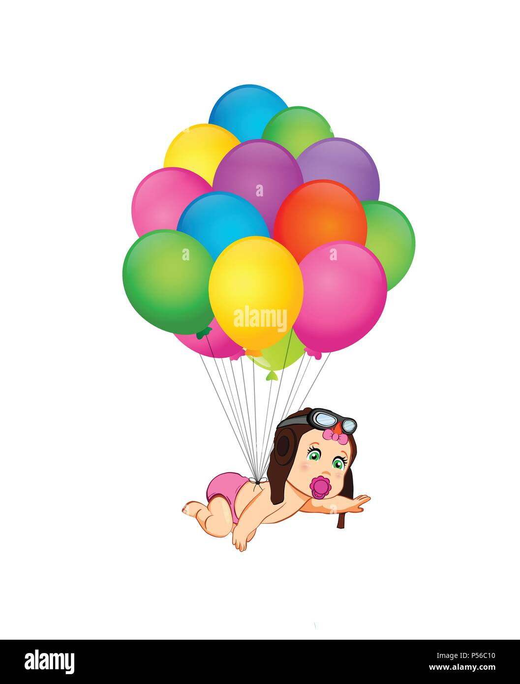 d8fd8959716 Its a girl cartoon vector illustration with cute baby girl in pilot hat  flying on bunch of colorful helium balloons on white background. Baby  shower g
