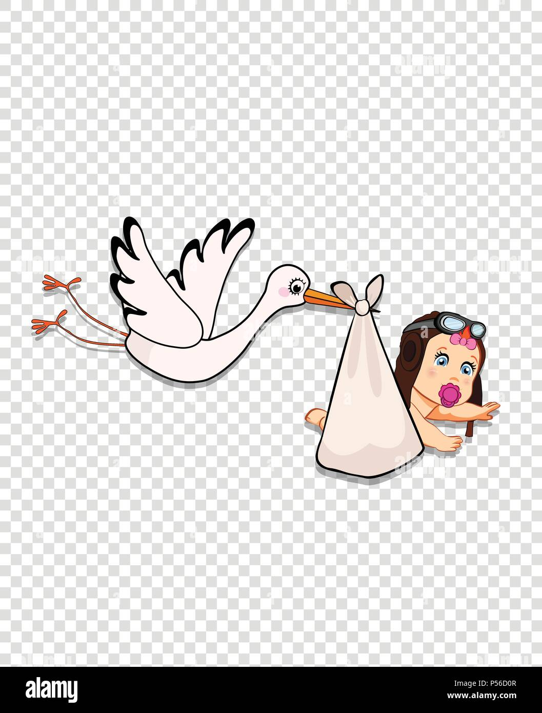 e52621a992a Its a girl cartoon vector illustration with stork bringing cute baby  wearing pilot hat on transparent
