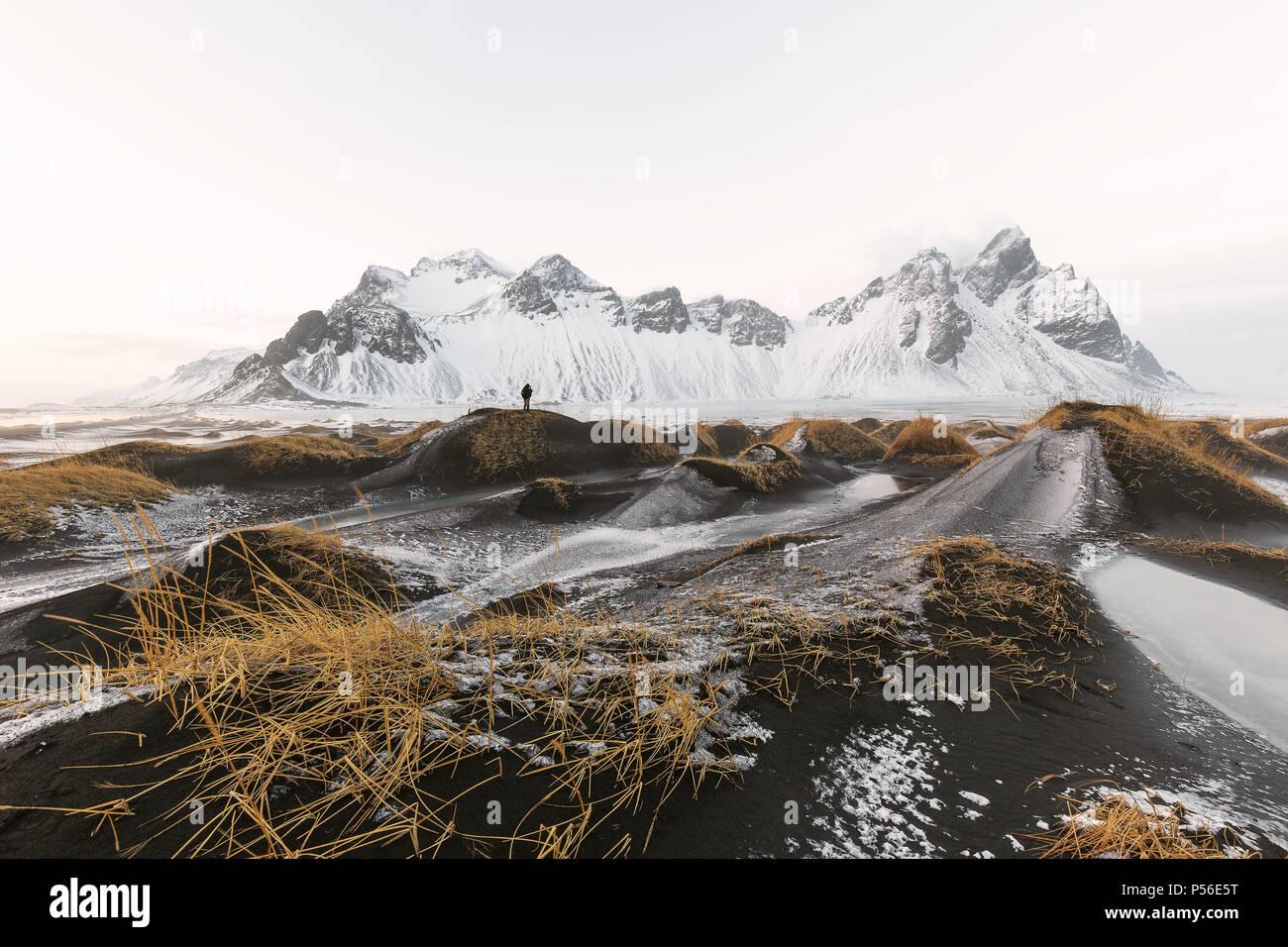 Vestrahorn mountains at Stokksnes beach in Iceland - Stock Image